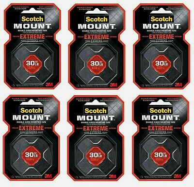 """6 ~ SCOTCH MOUNTING TAPE Adhesive Holds 30 lbs Hang EXTREMELY STRONG 1""""W x 60""""L"""