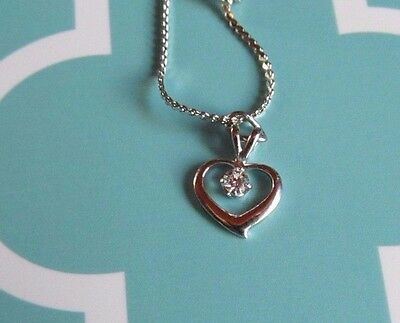 "New silver dainty chain jewel heart 16"" necklace nice! 5 available"