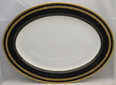 "Gaudron Onyx (Gold Trim) 14"" Oval Serving Platter"