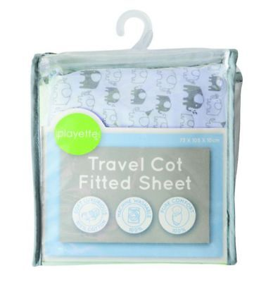 Playette Travel Cot Fitted Sheet (Blue Elephant)