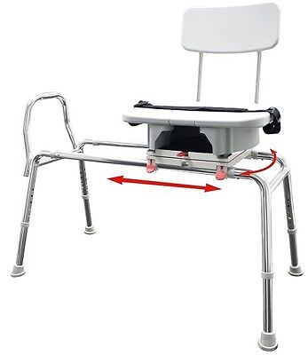 Eagle Health 77663 Snap-n-Save Sliding Shower Chair -Transfer Bench w Cut Out