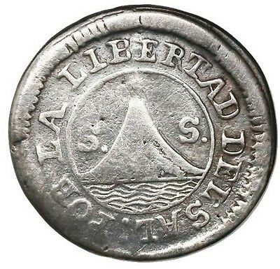 San Salvador, El Salvador, 1 real, 1835, Scarce,  KM-18.8. 2.68 grams.