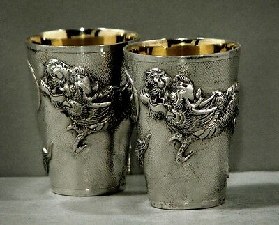 Chinese Export Silver Cups    DRAGON       SIGNED          Set 2