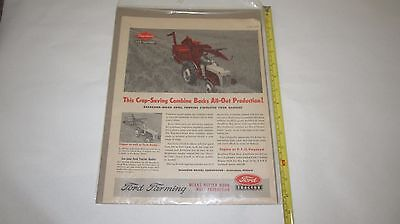 1953 Ford Tractor Dearborn Combine Vintage Print Advertisement