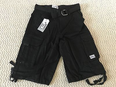 NWT Men's JMC Solid Black Cotton Twill Cargo Pocket Shorts w/ Belt ALL SIZES