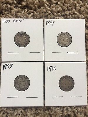 1899 1900 1907 1916 - Barber Silver Dimes Lot - US Coins