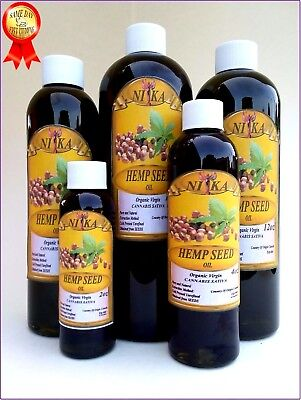 HEMP SEED OIL UNREFINED ORGANIC CARRIER VIRGIN COLD PRESSED RAW PURE 2oz-64oz