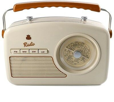 GPO Rydell Vintage Retro 50's Four Band Radio in Cream FM MW LW SW Mains Battery
