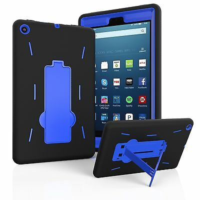 New Amazon Fire HD Table Hybrid Heavy Duty Kickstand Hard Soft Case Cover + Film