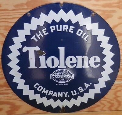 Old Pure Oil Tiolene with White Seal Border 26-inch Porcelain Sign