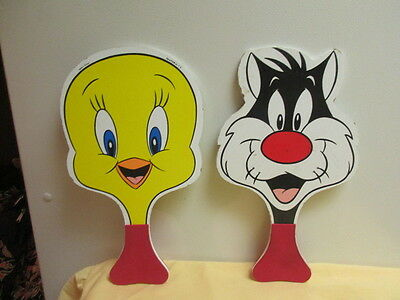 Tweety Bird and Sylvester Ping Pong Table Tennis Paddle Set Dmg'd Warner Bros