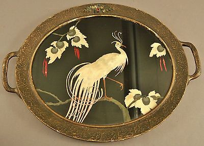 Antique Paper Mache Mother Of Pearl Tray With Ornate Handles Under Glass