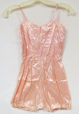 Vintage 50s Romper One Piece Shiny Pink Playsuit Pin Up Rockabilly XS or Youth