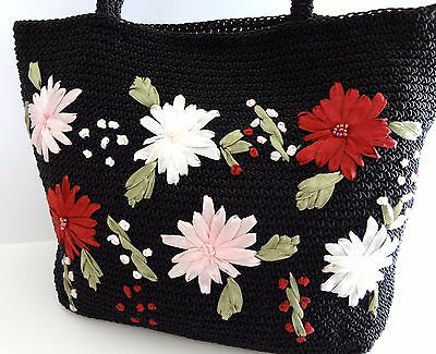 Vintage Black Macrame Purse Handbag w/ Ribbon Embroidered Flowers, 90s Fashion