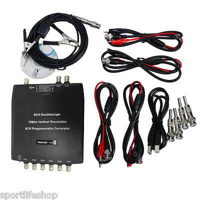 Hantek 1008C 8CH Automotive Diagnostic Oscilloscope pc USB Program Generator NEW