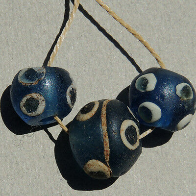 3 ancient round ancient islamic glass eye beads mali #1516