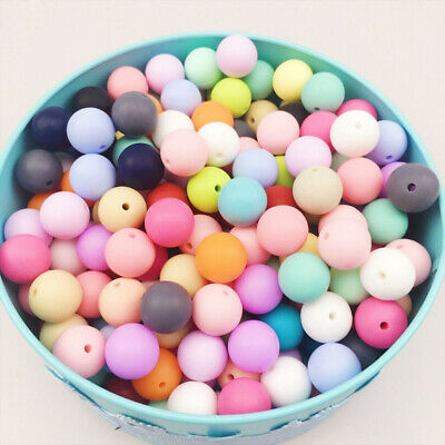 50Pcs Silicone Teething Beads Baby Nursing Chew DIY Teether Necklace Making 12mm
