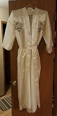 Vintage Golden Dragon Embroidered Silk Kimono Bonsai Flower Birds XXXL Off-white