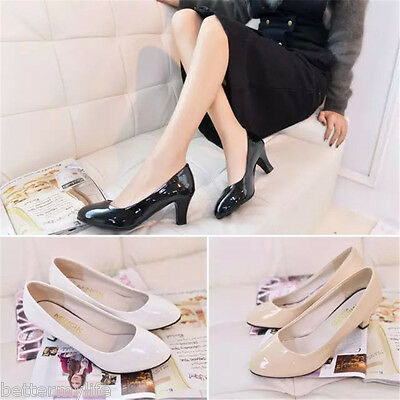 Women Simple Patent Leather Classic Office Lady Round Toe High Heel Shoes