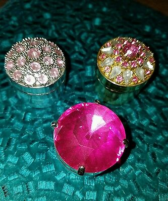 RARE Jeweled Victoria's Secret Trinket boxes Pink Clear Gold & Silver tone