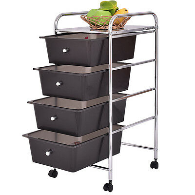 4 Drawers Metal Rolling Storage Cart Scrapbook Supply & Paper Home Office