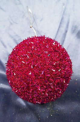 Red Glittered Ball Christmas Tree Ornament new holiday decorations