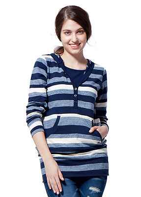 Mamaway Classic Stripes Maternity & Nursing Long Hoodie