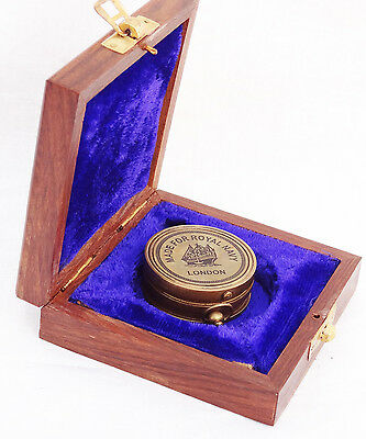 Brass Made for royal navy london Vintage Collectible Compass /wooden case