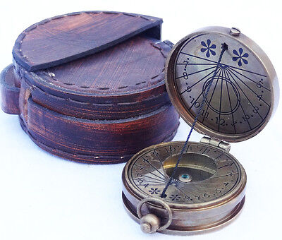 Brass Antique Made for royal navy london Vintage Collectible Sundial Compass