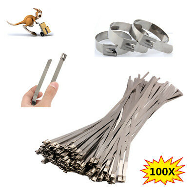 100Pcs Stainless Steel Metal Cable Zip Tie Strap Locking Exhaust Wrap Coated AU