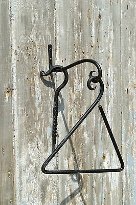 Classic antique style wall hanging dinner triangle bell set hand wrought iron