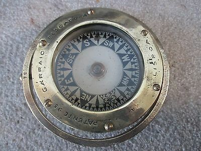 Antique Nautical Boat Old Ship Salvage Compass Gimbal Patente 93 Lisboa Marine
