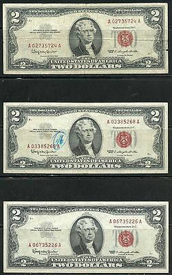 United States  Lot Of 11 $2 Legal Tender Notes Vintage  1953 & 1963