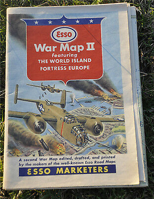 1940s Esso World War II War Map Vintage Road Map Featuring The World Island