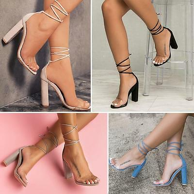 Women High Heel Barely Clear Perspex Strap Ankle Strappy Sandals Summer AUBC