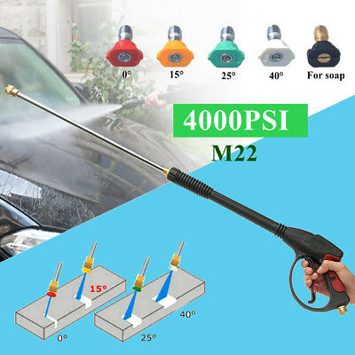 4000PSI High Pressure Water Washer Spray Car Gun + Extend Wand Lance+ Five Tips