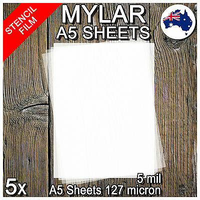 Stencil Film 5 Sheets A5 Mylar: 127 micron for Airbrushing Painting and Craft