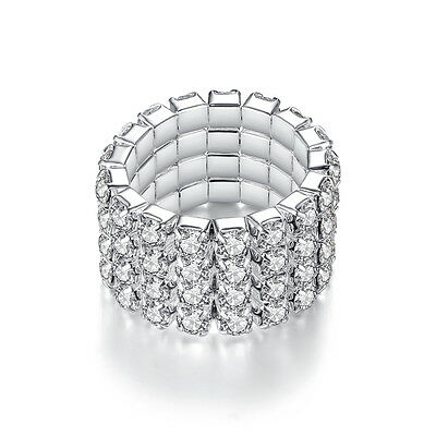 Full crystal Multilayer white gold filled wedding party tennis ring size 6 7 8 9