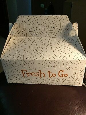 "50-White ""fresh To Go"" Gable Box Take-Out Containers 9""x 5""x 3-1/2"" free ship"