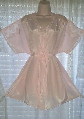 Vtg Pink DEENA Peignoir Robe Nightgown Gown Negligee Lingerie SET Lace S