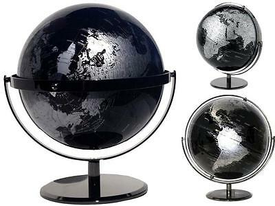 Easy View Black World Globe Double Axle Wedding Father's Gift Home Decor 42x30cm