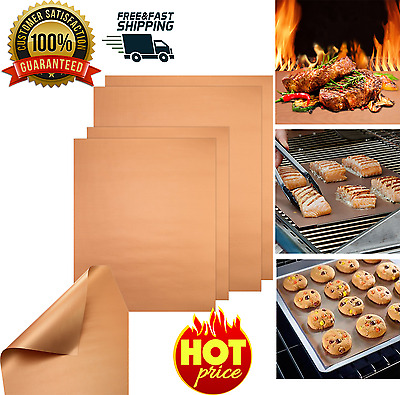 50 PCS Copper Chef Grill and Bake Mats BBQ Pad Tool Camping Hiking Home Outdoor