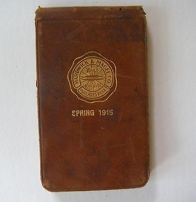 c1915 HARDWICK & MAGEE CO. PHILADELPHIA Rugs and Carpets LEATHER MEMO BOOK