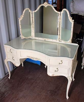 Vintage Olympus Louis XV Style Painted Cream Dressing Table