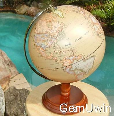 World Globe Antique Vintage Brass Arm Wooden Base Travel Home Decor Gift 30 cm