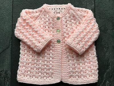 Hand knitted Baby Girl's Soft Peach Shimmer Cardigan  fits 0-3 mths 'NEW'