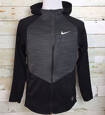 Boys Nike Elite Full Zip Black Hoodie Sweatshirt Dri- Fit Size L Large