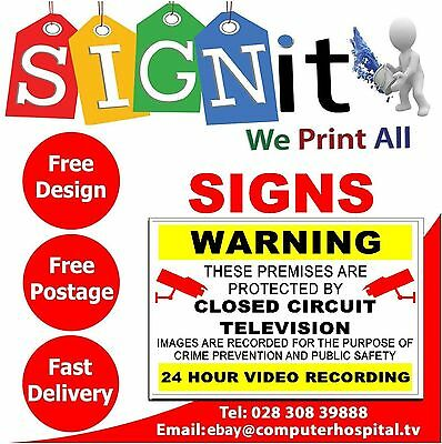 Warning CCTV closed circuit television 24 hour video recording sign 5517