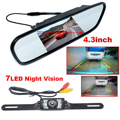 4.3 inch TFT LCD Monitor Car Rear View Mirror Backup Reverse Camera Night Vision