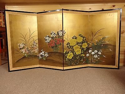 Vintage 1902 Hand Painted Gold Leaf Japanese Four Panel Screen Wall Art Picture